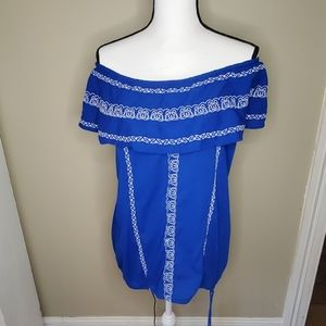 Blue embroidered off the shoulder peasant blouse